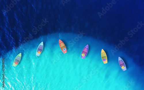 Foto auf AluDibond Turkis Boats from air. Aerial view on sea. Summer seascape with clear water in sunny day. Top view of boats from drone. Summer seascape from air. Travel - image