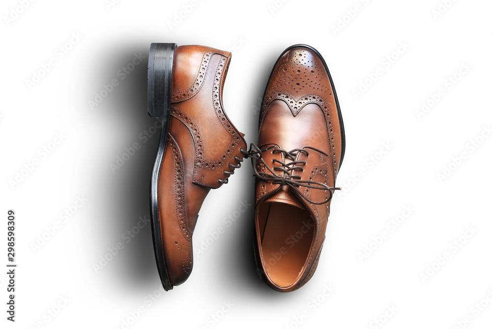 Fototapeta Brown leather men's shoes in classic style - obraz na płótnie