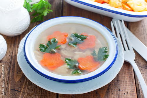 Fish aspic in an enameled bowl, selective focus Canvas Print