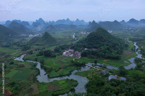 Riviere Guilin mountain in the evening day