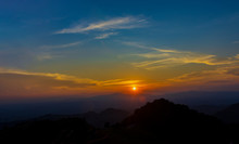 Sunset At Doi Samer Dao Sri Nan National Park, The Beautiful And Famous Star Watching And Mist Location In Thailand