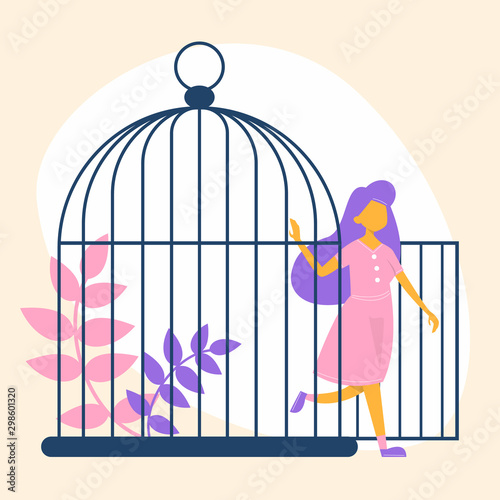 Fotografie, Obraz Happy woman leave the cage. Metaphor of freedom and escape