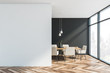 canvas print picture - Gray and white dining room with mock up wall