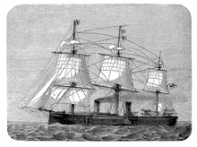 German Ironclad Warship, Sail And Steam Engine Ship, 19th Century