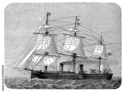 German ironclad warship, sail and steam engine ship, 19th century Tableau sur Toile