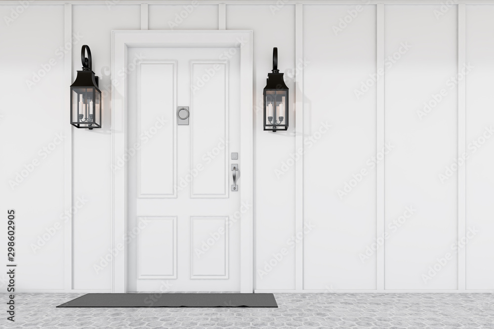 Fototapety, obrazy: White front door of white house with mat
