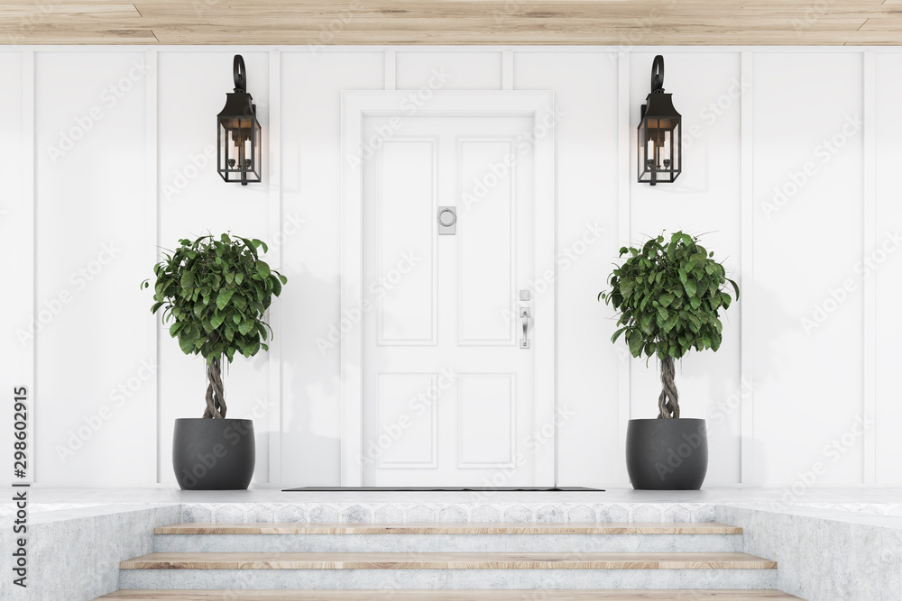 Fototapety, obrazy: White front door of white house with trees, stairs