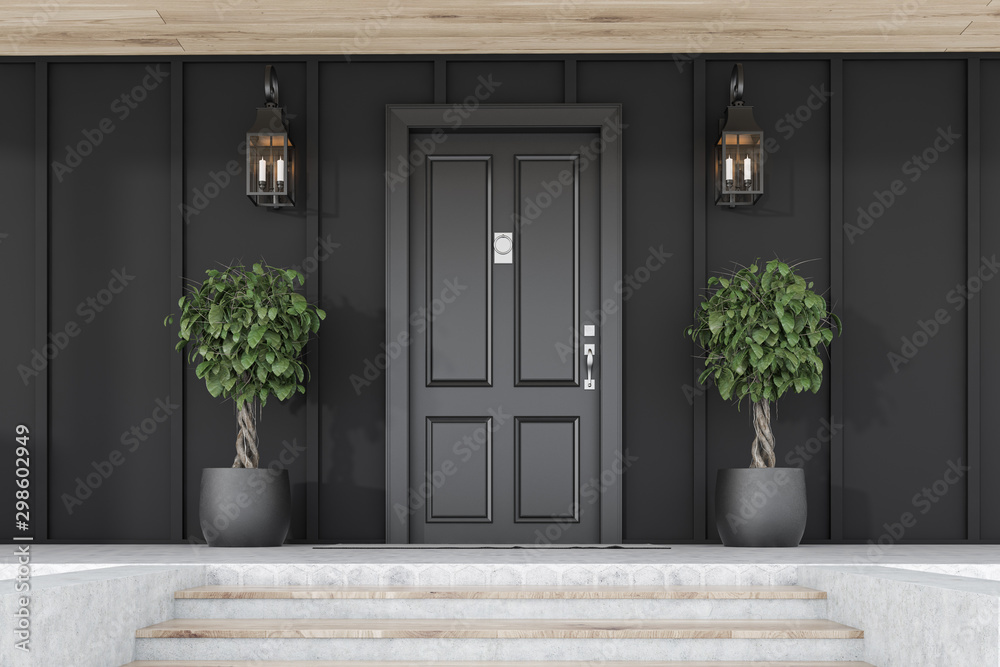 Fototapety, obrazy: Black front door of black house with trees