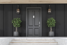 Black Front Door Of Black Hous...