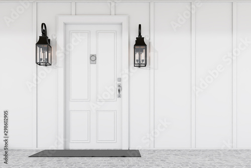 Foto op Aluminium Tuin White front door of white house with mat