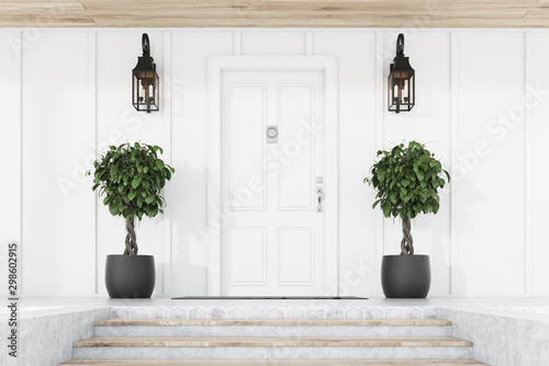 Carta da parati White front door of white house with trees, stairs