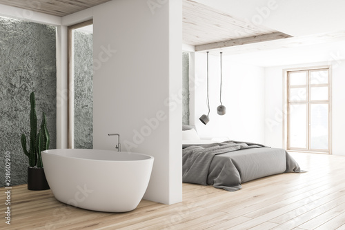 Fototapeta White and gray bedroom and bathroom corner obraz