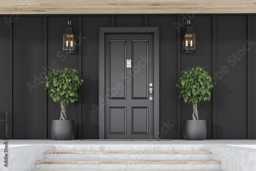 Poster Jardin Black front door of black house with trees