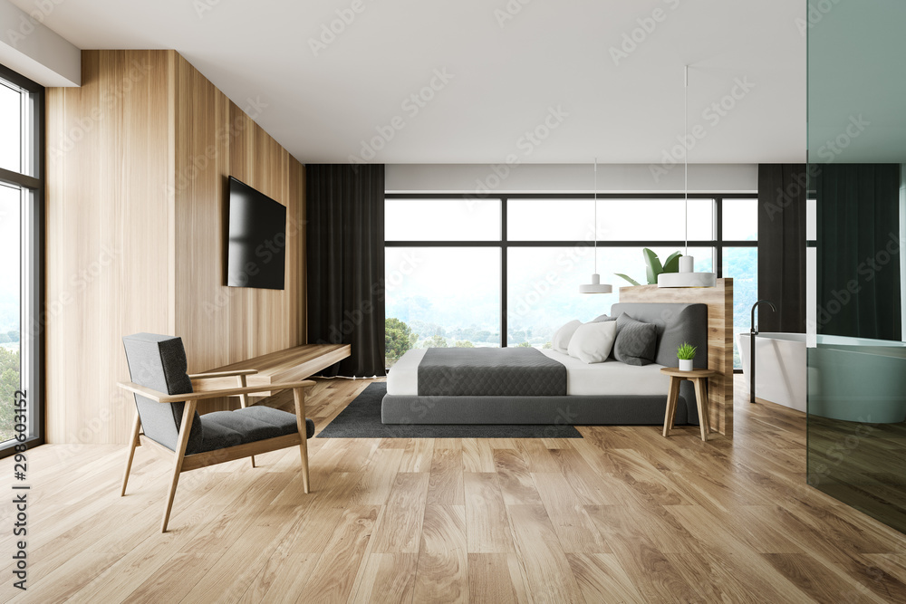 Fototapeta Wooden master bedroom and bathroom interior