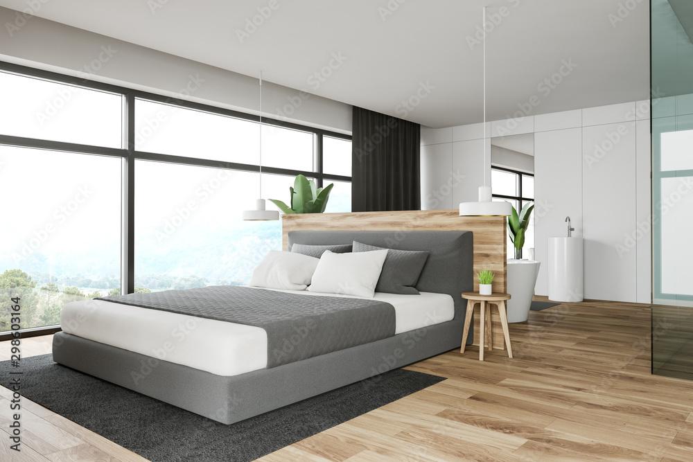 Fototapety, obrazy: White master bedroom and bathroom interior