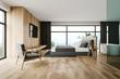 Leinwanddruck Bild - Wooden master bedroom and bathroom interior