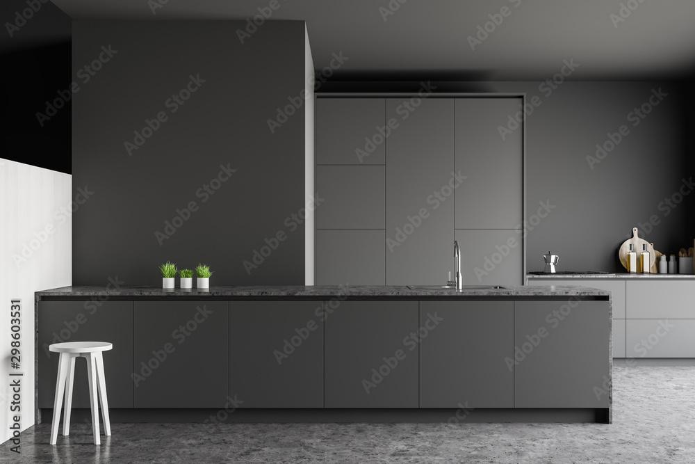 Fototapety, obrazy: Gray kitchen with bar stool