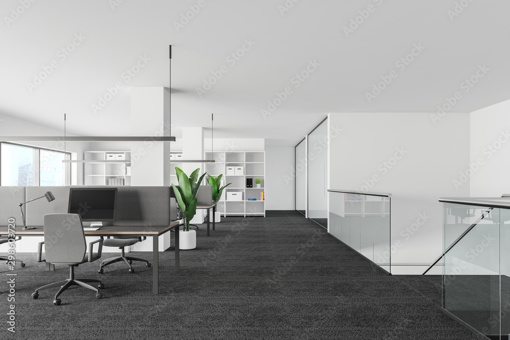 Fototapeta White and glass office interior