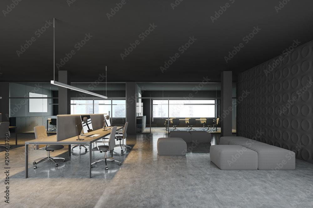 Fototapety, obrazy: Sofa in dark gray open space office