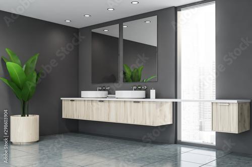 Fotomural  Grey bathroom corner with double sink