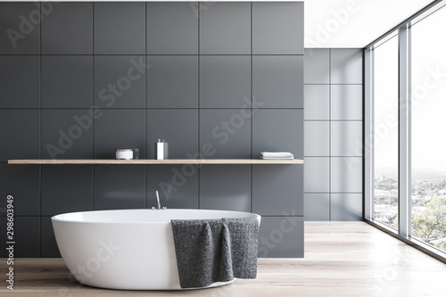 Panoramic gray tile bathroom interior with tub Tablou Canvas