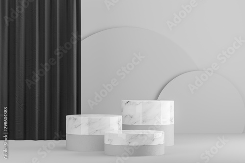 Fotobehang Londen White and marble tables for product display