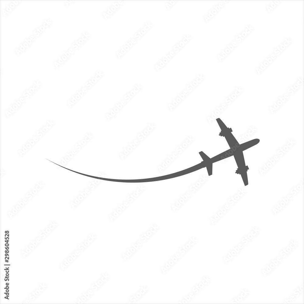 Fototapety, obrazy: Airplane symbol vector icon fly transportation. Travel business black silhouette flat isolated white. Simple trip path route way. Clean shape element jet