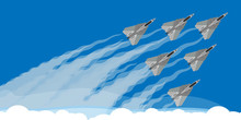 Military Fighter Jet With Sky Smoke Trail Background Illustration Vector. Air Show Plane Fly Acrobatic Performance. Speed Army Team Demonstration Skill Force Design