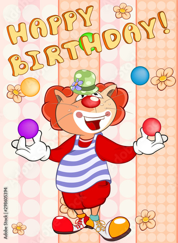 Fotobehang Babykamer Happy Birthday Card Cute Cartoon Character Cat . Vector Greeting Card. Happy Moment. Congratulation