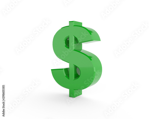 Fényképezés 3D generated dollar sign with green color isolated on white background