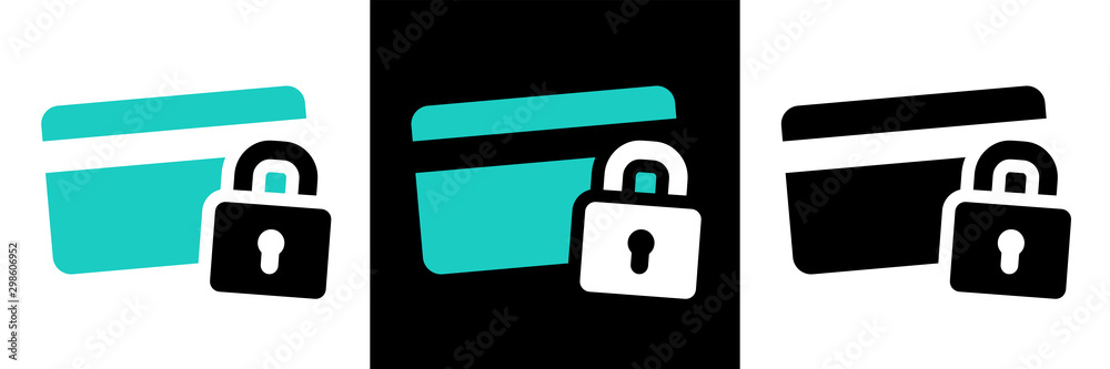 Fototapeta Secure payment credit card pictogram on different background