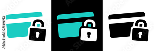Obraz na plátně Secure payment credit card pictogram on different background
