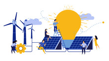 Ecology City Environment Energy Earth Day Design. Woman And Man Building Solar Panel Landscape Vector Illustration. Concept Eco Nature Save. Recycle Wind Turbine Technology Planet Windmill Clean