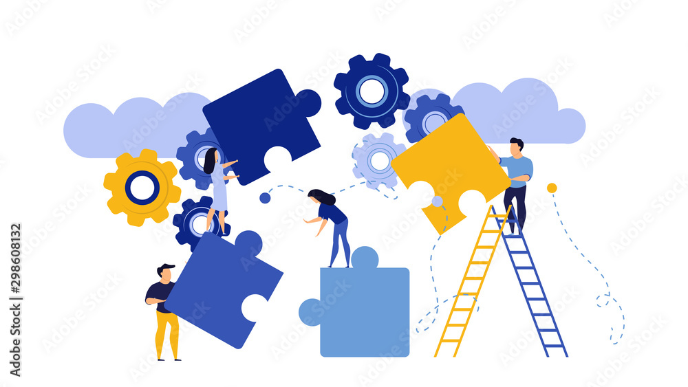 Fototapeta Puzzle together vector concept business jigsaw piece illustration teamwork solution idea. Connect background group success design. Solve problem work cooperation element part strategy