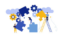 Puzzle Together Vector Concept Business Jigsaw Piece Illustration Teamwork Solution Idea. Connect Background Group Success Design. Solve Problem Work Cooperation Element Part Strategy