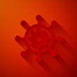 Paper cut Project management icon isolated on red background. Hub and spokes and gear solid icon. Paper art style. Vector Illustration