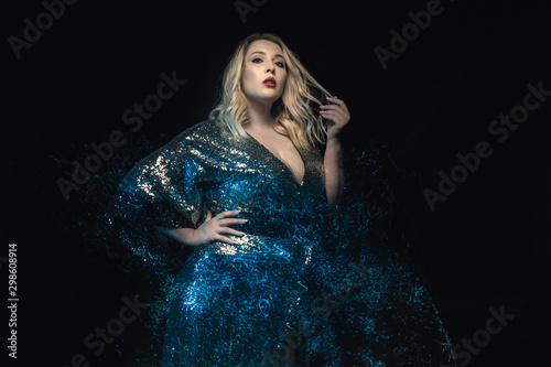 Half length plus size model shot with mixed lights effect Canvas Print