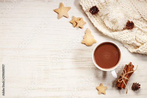 Spoed Foto op Canvas Chocolade Hot chocolate in white cup with star shaped cookies