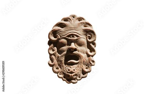 polyphemus mask on white mitologia Tablou Canvas