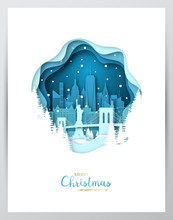 Snowy New York City. Paper Art Greeting Card. Merry Christmas And Happy New Year NY. Vector Illustration.