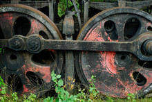 Big Rusty Wheels Of An Old Ste...