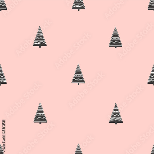 Seamless pattern of Christmas trees in Scandinavian style Tableau sur Toile