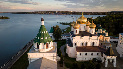 Kostroma. Gold ring of Russia. The monastery of St. Ipaty. Clouds in the evening sky and the Volga river.