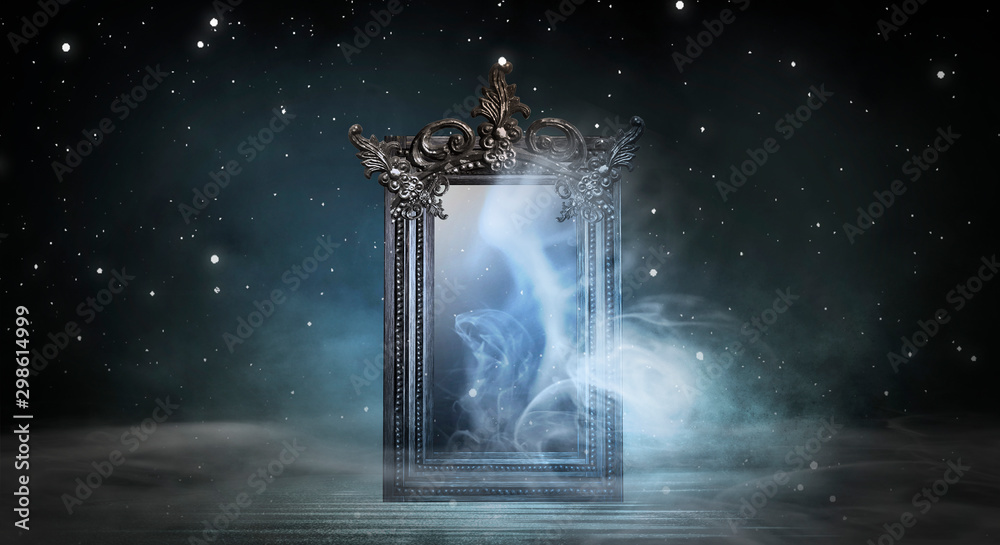 Fototapeta Dark fantasy landscape. Dark forest, magic mirror. Dark scene of a night landscape with a split glass. Night view, smoke, smog, neon light, moon.
