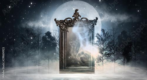 dark-fantasy-landscape-dark-forest-magic-mirror-dark-scene-of-a-night-landscape-with-a-split-glass-night-view-smoke-smog-neon-light-moon