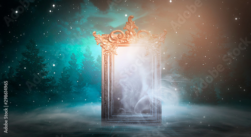 Foto op Plexiglas Zalm Dark fantasy landscape. Dark forest, magic mirror. Dark scene of a night landscape with a split glass. Night view, smoke, smog, neon light, moon.