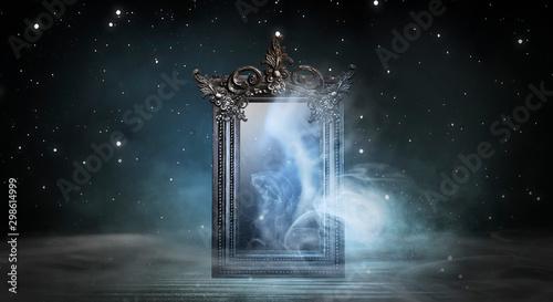 Obraz Dark fantasy landscape. Dark forest, magic mirror. Dark scene of a night landscape with a split glass. Night view, smoke, smog, neon light, moon. - fototapety do salonu