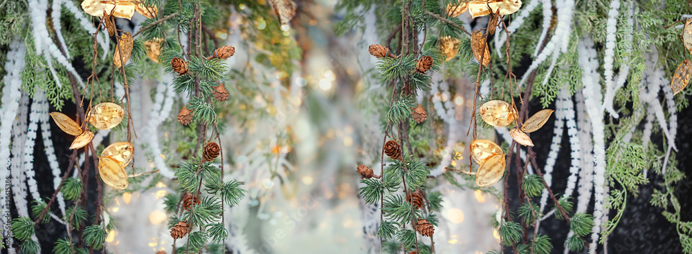 Fototapety, obrazy: beautiful floral background. chic golden flowers and fir tree branch. elegant festive decoration, Christmas and new year holiday background. soft selective focus