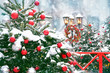 Leinwanddruck Bild - Christmas lantern. Merry Christmas and happy new year concept. Christmas tree, winter lantern and Christmas wreath. beautiful holiday winter decor, snowy landscape. copy space