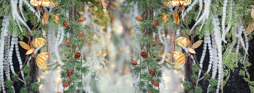 Fotobehang Bloemen beautiful floral background. chic golden flowers and fir tree branch. elegant festive decoration, Christmas and new year holiday background. soft selective focus